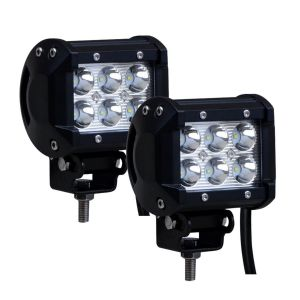 AllExtreme EX6FW2P 6 LED Fog Light Bar Waterproof Spot Beam Driving Cube Worklight with Mounting Bracket for Motorcycles and Cars (18W, White Light, 2 PCS)
