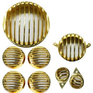 Combo Grill Set for Royal Enfield Motorcycles (Headlight + Tail + Indicator + Parking) - Golden
