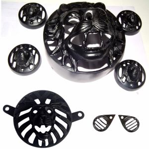 Heavy Lion Design Heavy Grill Set for Royal Enfield Bullet 500 Twinspark and Classic 350 - (Headlight, Indicator, Eyes Grill and Tail)