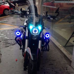 U7 LED High/Low Beam Fog Light with Flashing Blue Angle Eyes - 2 Pcs Set